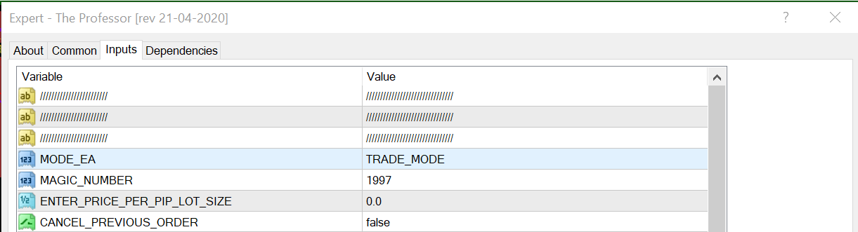 the professor inputs tab trade mode magic number lot size cancel previous