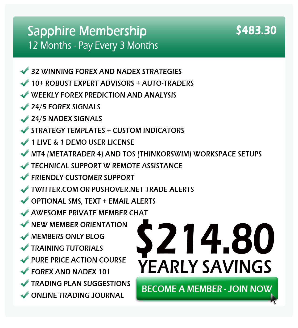 Slick Trade Pricing Table 3 month special - SlickTrade Academy - Nadex and Forex - Online Trading Academy
